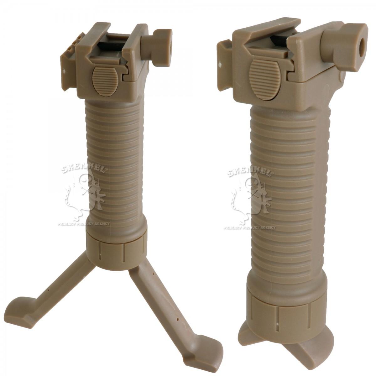 サイドレイル付バイポッドグリップ 伸縮便利ワンタッチ  20mmレール対応 TAN