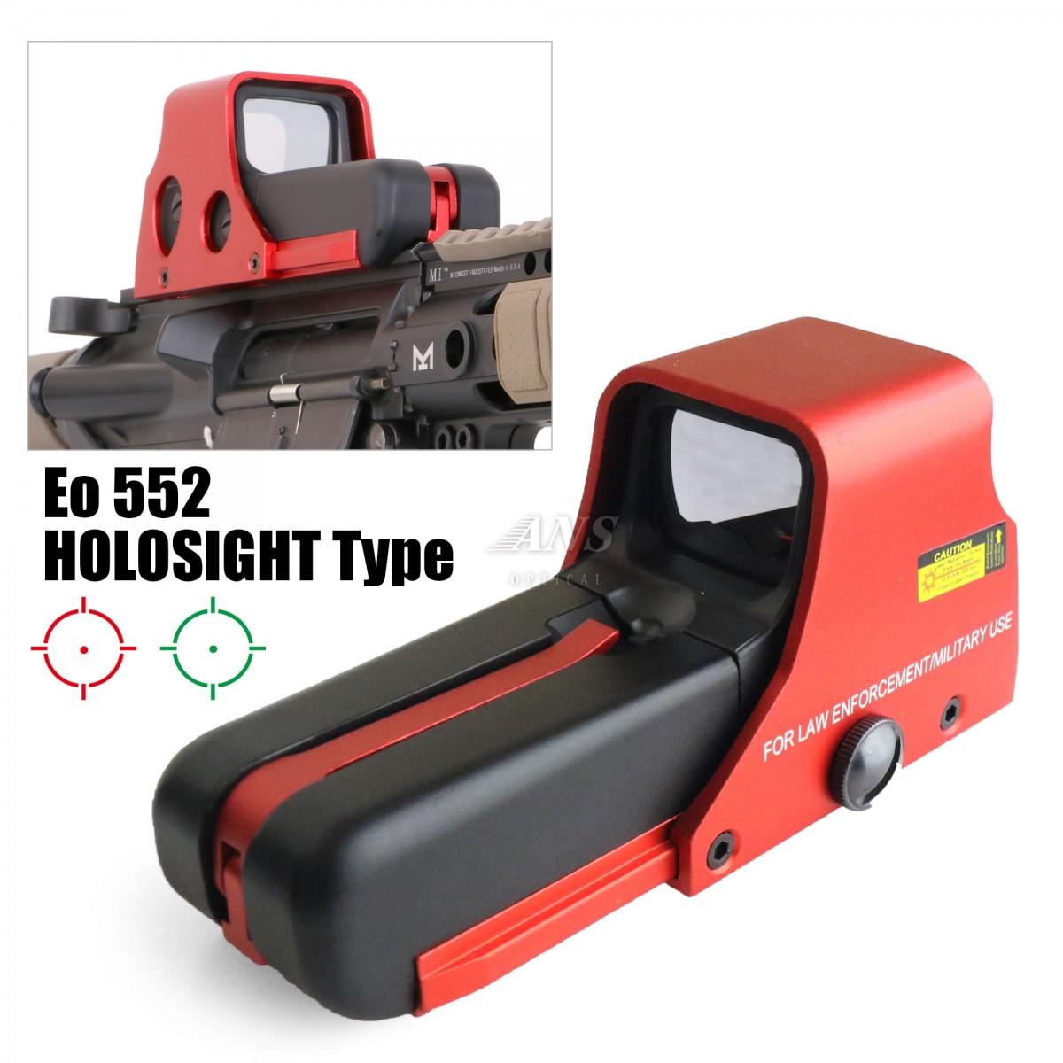 Eo .HD552タイプ ホロサイト メタリックレッド 20mmレイル対応 サバゲ―