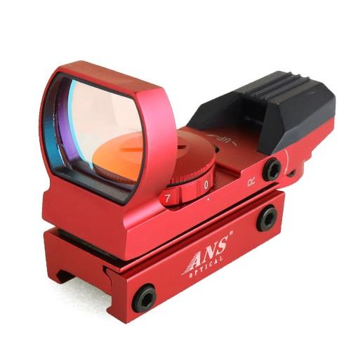 ANS Optical 軽量 オープン ドットサイト 赤 マルチレティクル 4形状赤7段階 ルビーレンズ サバゲー