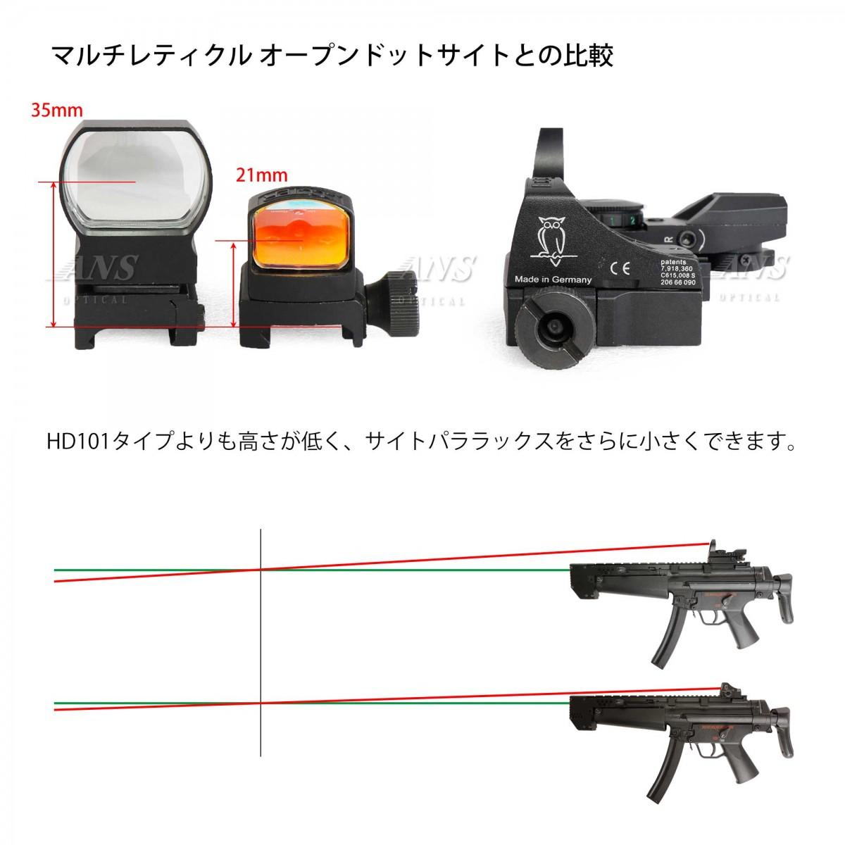 DOCTERタイプ マイクロ ドットサイト 赤点灯 (AUTO自動調光) 刻印入り コンパクト BK ブラック