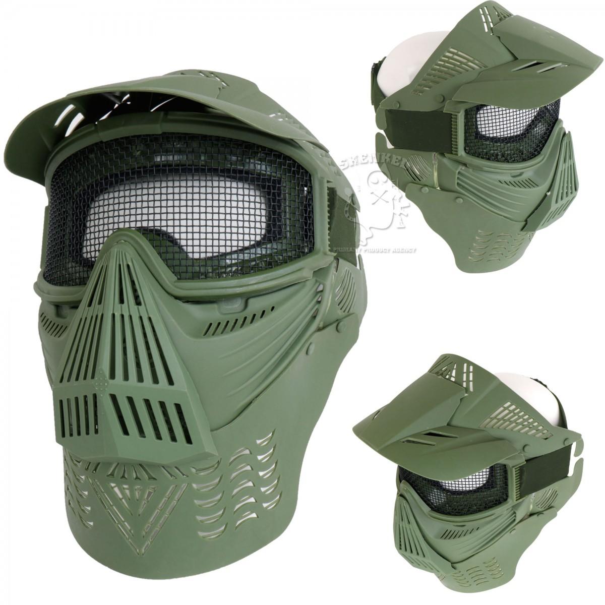 SHENKEL フルフェイス シューティングマスク メッシュゴーグル バイザー&ネックガード付き