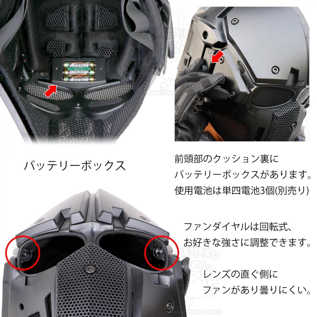 SHENKEL パーツを自由に交換できる NVGマウント モジュラーヘルメット ファン付 ブラック ルフェイスマスク Obsidian