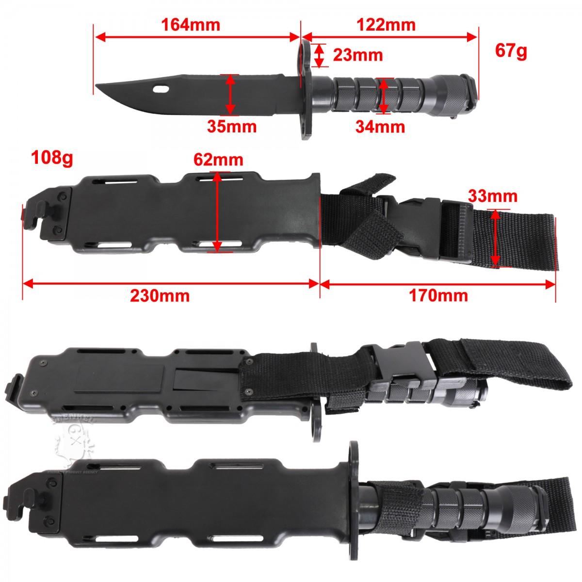 樹脂製 ナイフ Cタイプ M9 Bayonet 銃剣 M10 銃剣鞘 レプリカ セット サバイバル ダミーナイフ  ミリタリー ドレスアップパーツ ケース付き