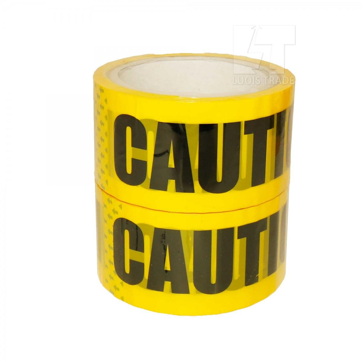 パッキングテープ バリケード テープ ( CAUTION ) 幅4.7cmX長さ25m 2巻セット フィルムテープ ライン用テープ 梱包 表示 安全