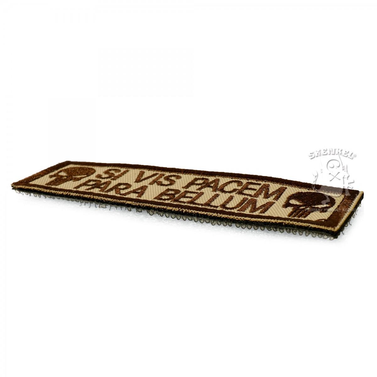 SHENKEL パニッシャー ドクロマーク ワッペン 茶 26x95mm 刺繍 パッチ ベルクロ付き The Punisher